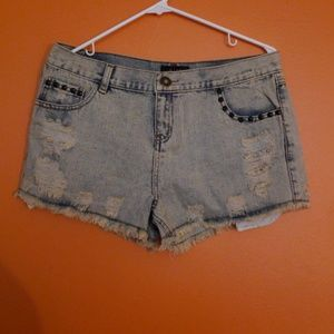 NWT-Distressed Denim studded booty shorts size L